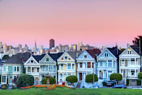 Famous row of houses known as 'Painted Ladies' just off of Alamo Square in San Francisco.