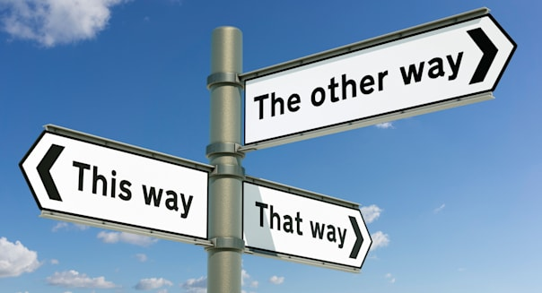 This way, That way, The other way - decision / choice concept sign post