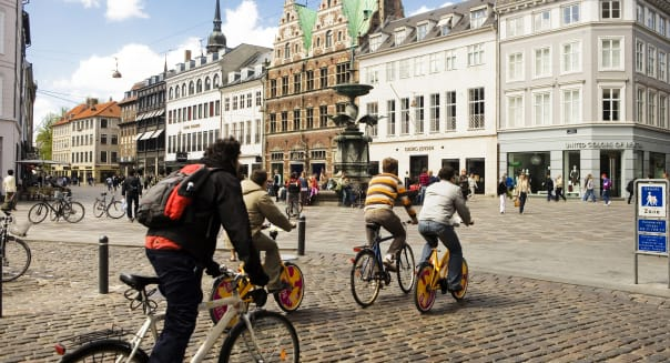 City bikers, Amagertorv in Copenhagen
