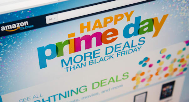 """The Amazon website promotes their self-proclaimed """"Prime Day"""" on Wednesday, July 15, 2015. Bargains and deals galore are offered"""