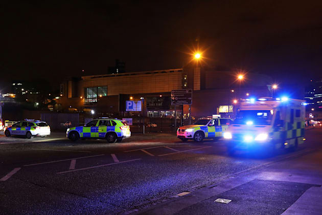 Sirens sound as emergency services flood the Manchester Arena in the minutes following the