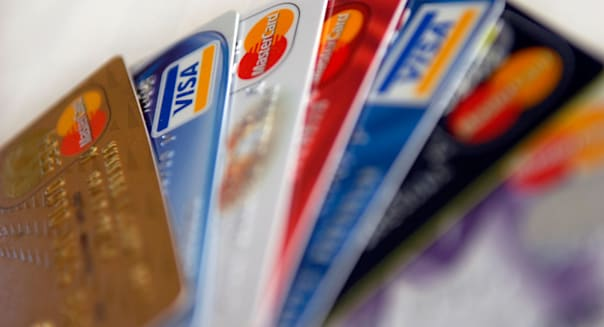 a selection of credit cards in a fan