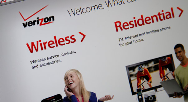 Verizon online website splash screenshot