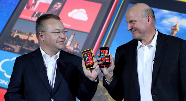 Nov. 6, 2012 - Moscow, Russia - November 06,2012. Pictured: Microsoft CEO Steve Ballmer (r)and Stephen Elop (l),the chief execut