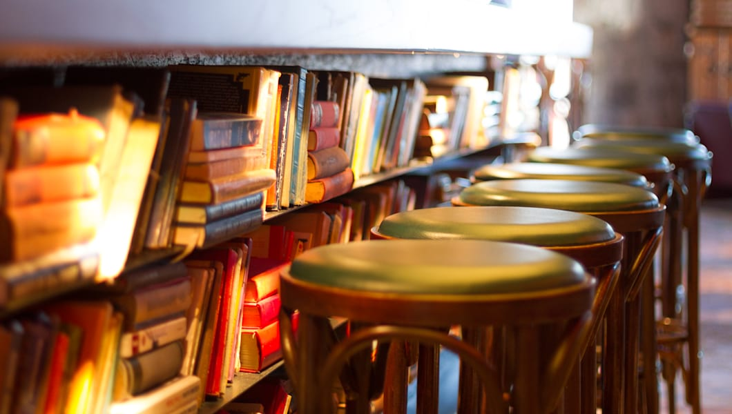 Bookshelves in old bar