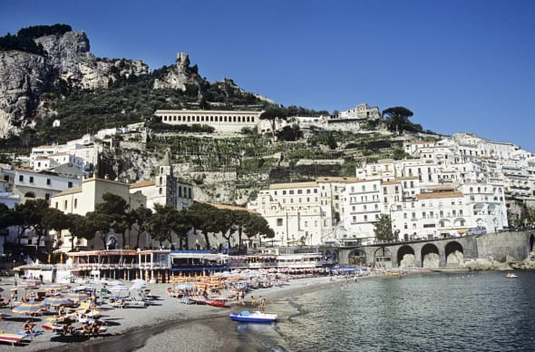 italy, campania, amalfi, beach and town on the amalfi coast....