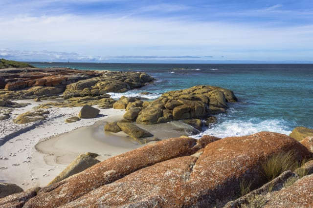 Rocks at Bay of Fires in Tasmania with beautiful seaside