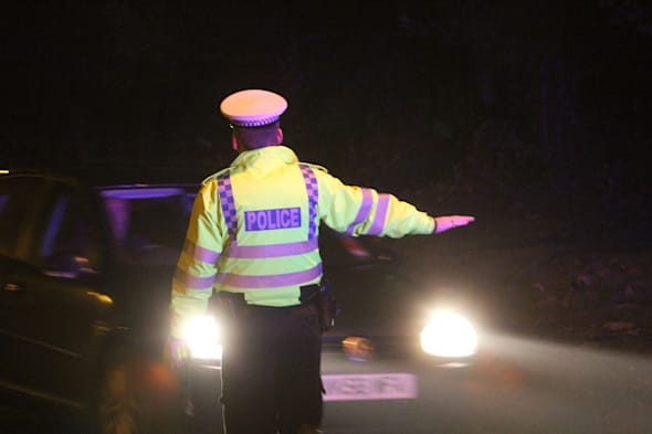 Christmas drink drive initiative by Thames Valley police in the city of Milton Keynes, England, UK.