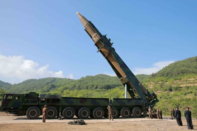 The intercontinental ballistic missile Hwasong-14 is seen in this undated photo released by North Korea's...