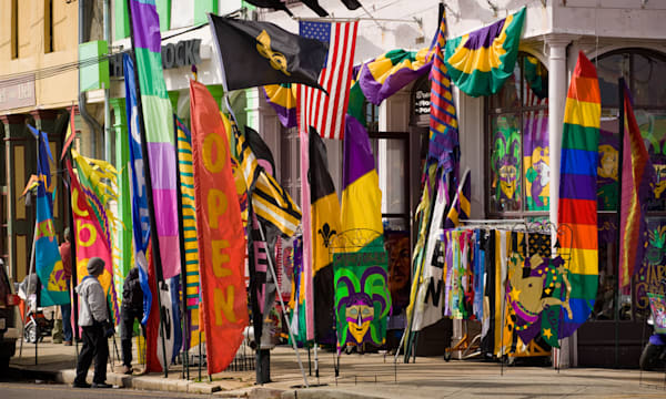 Flag shop on Magazine Street in Garden District of New Orleans, Louisiana