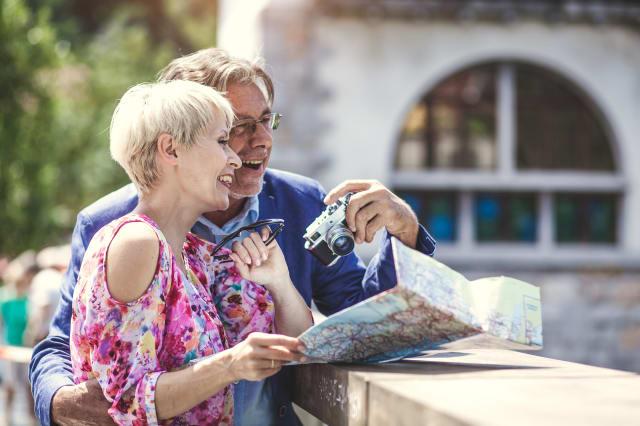 Senior couple tourists at the city