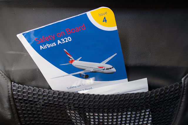 A British Airways Safety on board card for an Airbus A320 plane which is kept in the seat pocket
