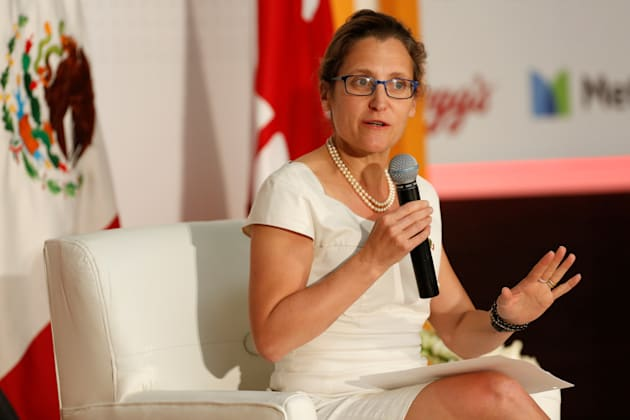 Foreign Minister Chrystia Freeland speaks at an event in Mexico City on May 23,