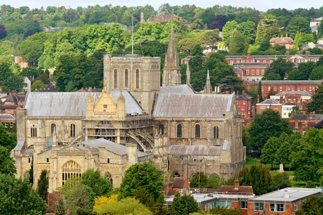 The Winchester Cathedral in Hampshire is one of the largest cathedrals in England