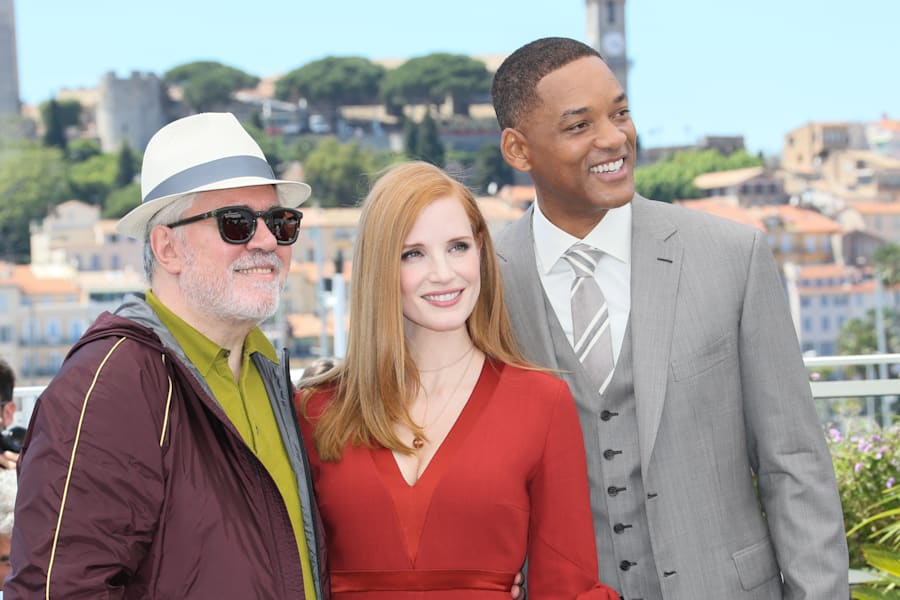 Cannes Film Festival jury president Pedro Almodovar alongside fellow jury members Jessica Chastain and...