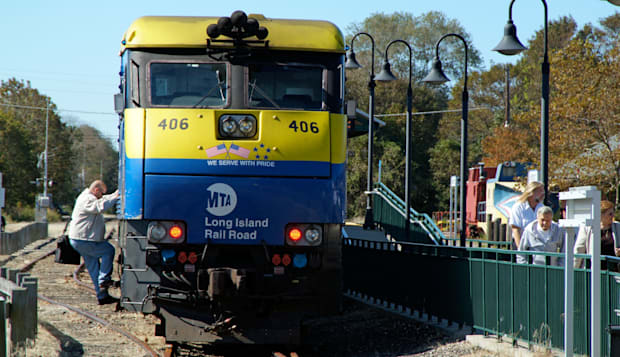 Railroad train at Greenport Long Island New York USA MTA