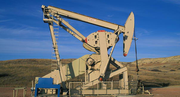 Oil Well or Pumpjack pumping oil from Bakken reserve North Dakota  USA