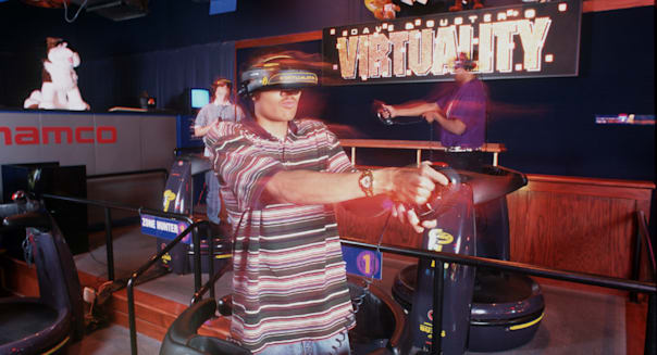 North America, USA, IL, Addison. Dave and Busters Arcade and Restaurant, virtual reality video games. (MR)
