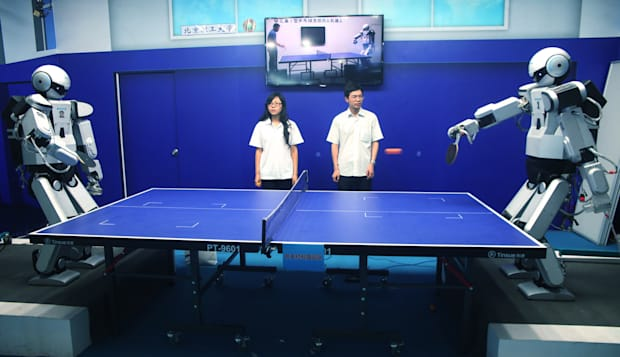 Robots Play Table Tennis In Beijing