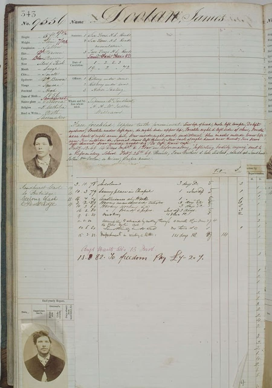 Jack Doolan's criminal register which features in the Wild Colonial Boys