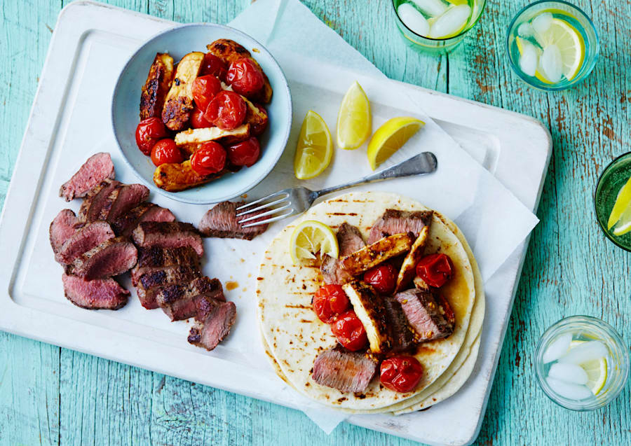 Portion the lamb, halloumi and cherry tomatoes into plastic containers, and heat up and serve with the...