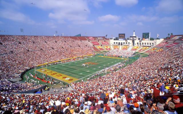 USC Trojans Football Game, The Coliseum, Los Angeles, California, USA.