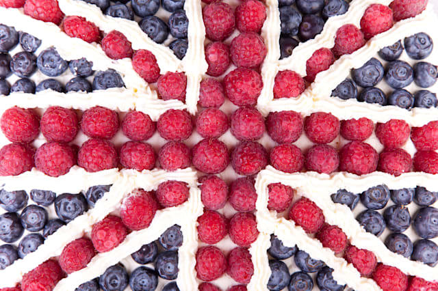 Union jack made form the berries and cream