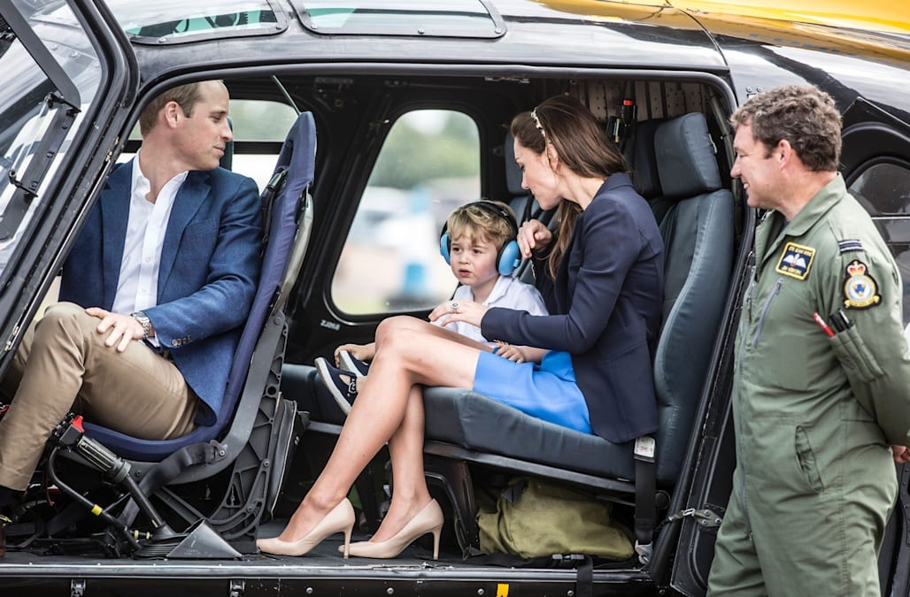 Kate Middleton, Prince George and Prince William hop in a helicopter