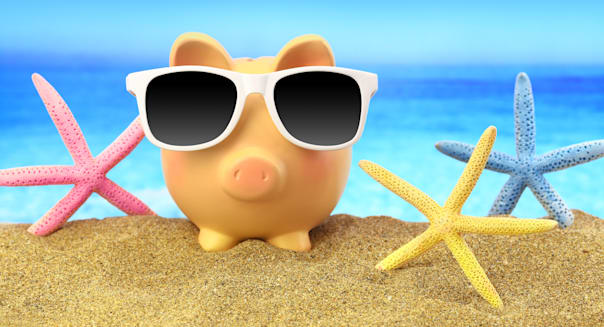 summer piggy bank with...