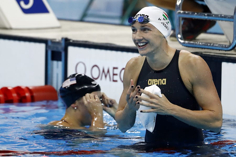 Hungarian Katinka Hosszu won the women's 100m and she's Hungary for
