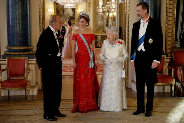 Britain's Queen Elizabeth II, her husband Prince Philip, Spain's King Felipe and his wife Queen Letizia...