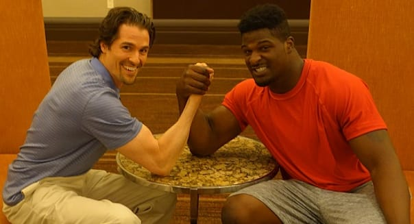 Robert Pagliarini and Dee Ford Arm Wrestle
