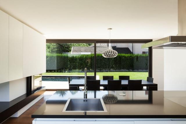 Modern villa, interior, view room from kitchen