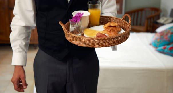 BYA3DR Waiter with breakfast tray hospitality hotel service