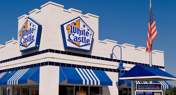 Old fashioned White Castle hamburger restaurant from the 1940s American life in Columbus Ohio USA