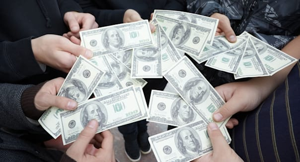CF3F83 five teens staying with funs of dollars in their hands close by five; teens; staying; funs; dollars; in; their; hands; fi