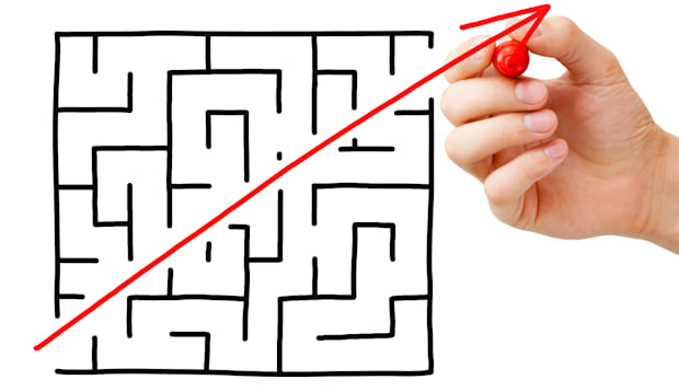 Shortcut cutted through a maze by a red arrow.