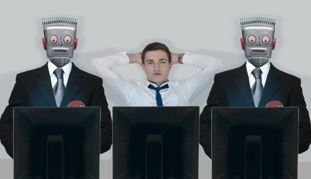 Relaxed businessman between stressed robots