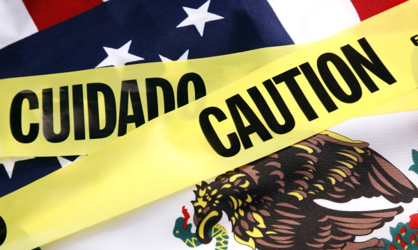Caution on the US and Mexico Border
