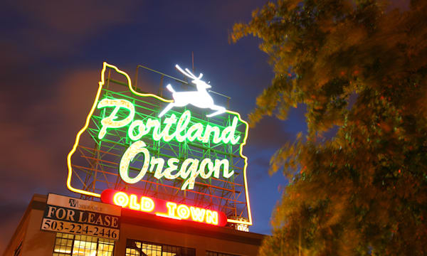 Portland Oregon, Neon Sign, Old Town Portland