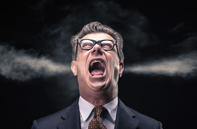 Shouting Businessman with Steam Jets Blowing out of his Ears