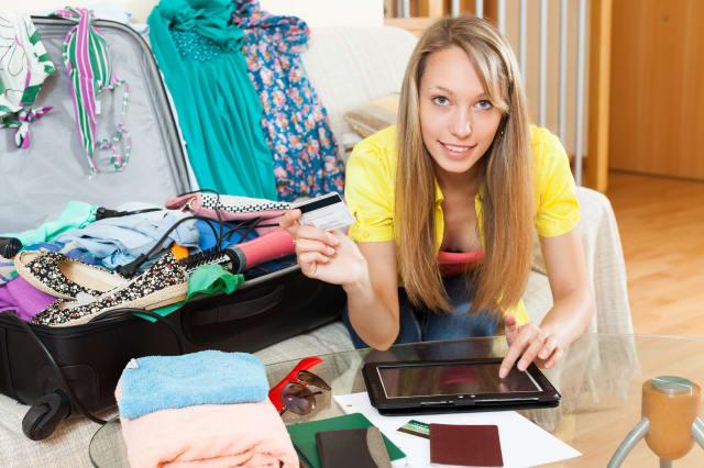 Girl booking hotel online