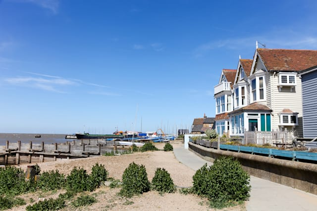 Seafront houses at Whitstable, Kent, UK