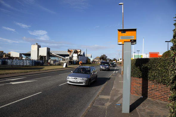 england, west sussex, shoreham-by-sea, gatso traffic speed camera on main road....