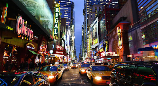 C1WR58 American cities, Times Square New York City, USA.  American; cities; Times; Square; New; York; City; USA; street; night;