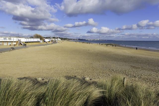 Sandbanks beach and waves Poole Dorset England UK