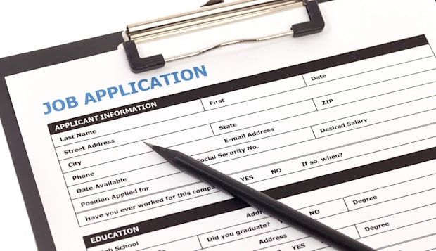job application form with...