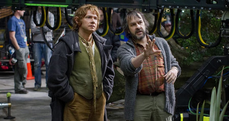 Director Peter Jackson, right, with Martin Freeman on the set of The Hobbit: An Unexpected