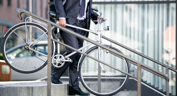 business man and his bicycle ...