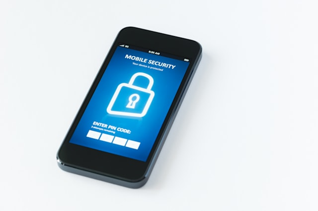 Modern smartphone with mobile security application interface on a screen. Isolated on white background